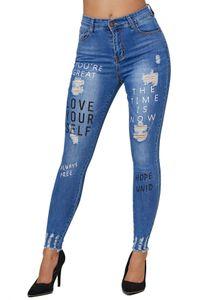 Damen Denim Jeans Stretch Hose Skinny Röhren Destroyed Beschriftet  , Farben:Blau, Größe:40