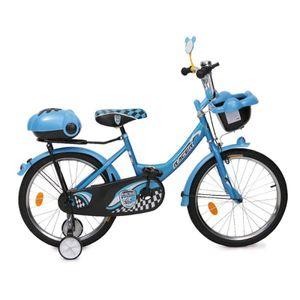 Byox Kinderfahrrad 20 Zoll 2082 blau, Stützräder, zwei Gepäckkörbe, Klingel