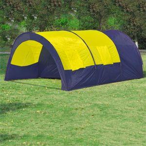 Huicheng Tunnelzelt Campingzelt Familienzelt 6 Personen Gruppenzelt blau-gelb