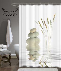 Digitaldruck Qualität Textil Duschvorhang Wannenvorhang WELLNESS STONE 120x200cm inkl. Ringe