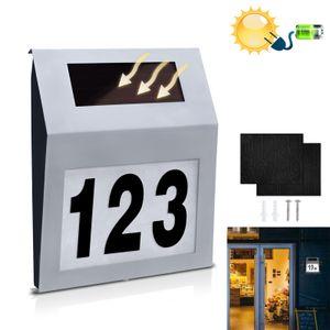 LARS360 LED Beleuchtete Hausnummer mit 2 LED Solarhausnummer Edelstahl Solar Hausnummernleuchte LED Beleuchtete Hausnumme LED Wandleuchte - Silver