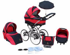 Kinderwagen AmberLine Classica Retro RED, 3 in 1- Set Wanne Buggy Babyschale