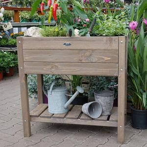 Esschert Design Hochbeet Braun mit Ablage 78,8 cm breit 65 l Volumen -Holz
