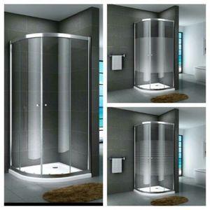 Glasdusche Fulda Set 5 cm, Ausführung:Teilsatiniert, Größe:90 x 90 x 190 cm, Duschtasse:mit Duschtasse und Ablauf