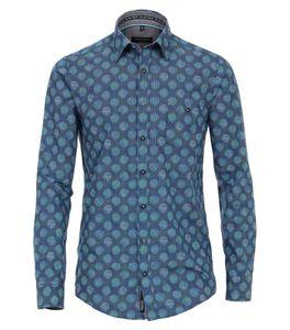 Casa Moda Herren Hemd in Blau mit modischem Druck, Casual Fit XXL