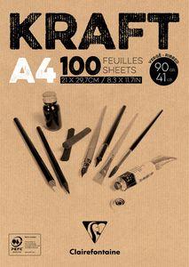 Kraftpapier-Block, 90g/m², 100 Blatt DIN A4