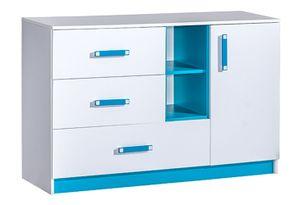 Kinderzimmer - Kommode Frank 07, Farbe: Weiß / Blau - 83 x 130 x 40 cm (H x B x T)