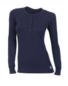 Aclima WarmWool Women's Granddad Shirt, Farbe:peacoat, Größe:2XL
