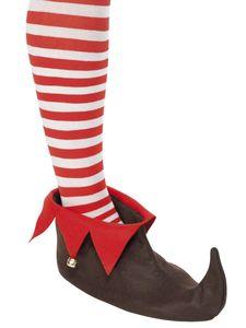 Kostüm Zubehör Elfenschuhe braun mit Glöckchen Weihnachten Karneval