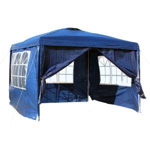 3x3m Pavillon blau abnehmbare Seitenteile Garten Party Festzelt Bierzelt Camping