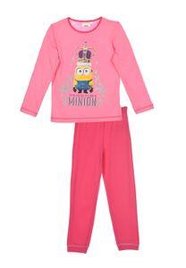 Minions Schlafanzug Pyjama Langarm Schlafanzug-Set Kinder Mädchen111, Farbe:Rosa, Größe:104