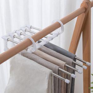2 Stück 5 in 1 Hosenregal  Edelstahl Multifunktionaler rutschfeste Hose Hosenbügel Magic Hanger Weiß