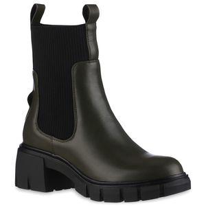 VAN HILL Damen Leicht Gefütterte Schlupfstiefeletten Profil-Sohle Schuhe 837844, Farbe: Olivgrün Schwarz, Größe: 38