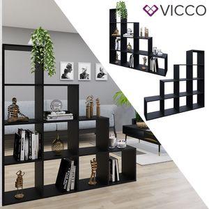 VICCO Treppenregal 10 Fächer Schwarz - Raumteiler Stufenregal Bücherregal Büroregal Standregal