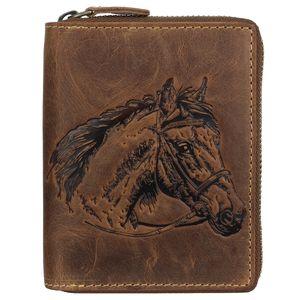 Greenburry Vintage Leder Reißverschluss-Geldbörse Hund 821A-Horse-25