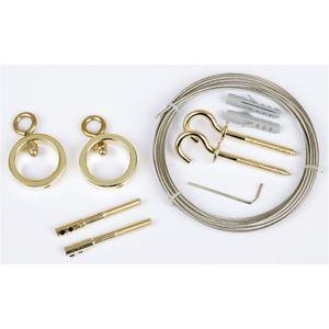 Seilspanngarnitur Ring (ca. 5m), Befestigungssystem für Gardinen, Farbe: Gold