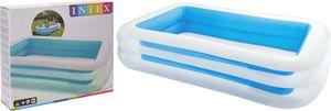 Intex Family Pool - Kinder Aufstellpool - Planschbecken - 262 x 175 x 56 cm - weiß / blau Swimmingpool