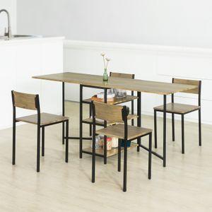 SoBuy FWT62-N klappbarer Esszimmertisch mit 3 Ablagen Klapptisch Küchentisch Holztisch Industrie-Design BHT ca.: 180x77x60cm