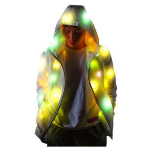Männer Frauen Langarm LED Bunt leuchtender Jackenmantel Leuchtende Kleidung Größe:S,Farbe:Weiß