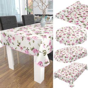 Tischdecke abwaschbar Wachstuch Blumen Wild-Rosen Beige 140x220 cm