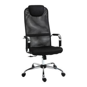 Vinsetto Bürostuhl mit Wippfunktion Kopfstütze Schreibtischstuhl höhenverstellbarer Schaumstoff Nylon Stahl Mesh schwarz 65,5 x 62,5 x 117-127 cm