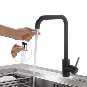 Küchenarmatur Schwarz Wasserhahn küche 2 Funkionen Spültischarmatur Schwarz Einhebelmischer Spülbecken Armatur Mischbatterie für Küchen