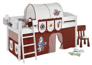 Lilokids Spielbett IDA 4105 Pirat Braun Beige - Teilbares Systemhochbett - weiß - mit Vorhang - Maße: 113 cm x 208 cm x 98 cm; IDA4105KW-PIRAT-BRAUN-S