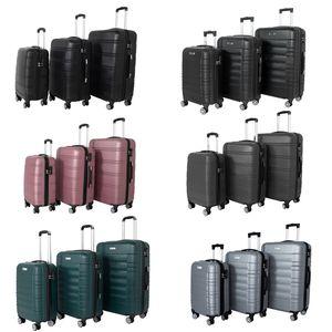Reise Koffer Hartschalenkoffer Trolly Roll-Koffer Handgepäck 360°-Rollen Robust und Leicht, Größe in cm:Schwarz-XL, Farbe:Schwarz