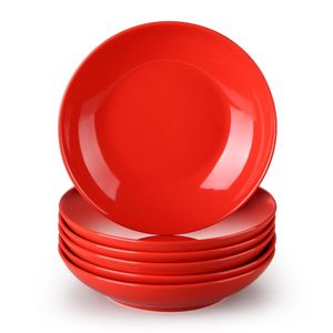 Tafelservice aus Porzellan, LOVECASA SWEET Suppenteller 6er Set, Tiefteller Set, Pastateller 550 ml, 21 x 21 x H 4,5 cm