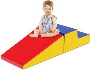 COSTWAY 2TLG. Softbausteine, Riesenbausteine zum Toben und Klettern, Großbausteine, Bauklötze für Kinder im Vorschulalter, Babys und Schulkinder (Rot+blau)