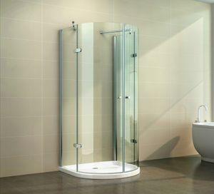 Glasdusche Weser Set 5 cm, Ausführung:Klarglas, Größe:80 x 80 x 190 cm, Duschtasse:mit Duschtasse und Ablauf