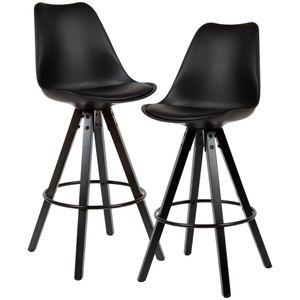 FineBuy 2er Set Barhocker Schwarz Kunstleder / Massivholz   Design Barstuhl Skandinavisch 2 Stück mit schwarzen Beinen   Tresenhocker mit Lehne Sitzhöhe 77 cm