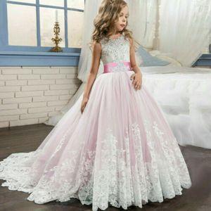 Kinder Blumenmädchen Tüll Partykleid Prinzessin Tutu Spitze Hochzeit Abendkleid Rosa 140