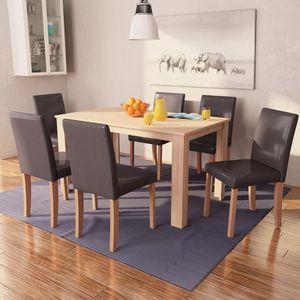 Esszimmertisch und Stühle 7-tlg. Kunstleder Eiche Braun
