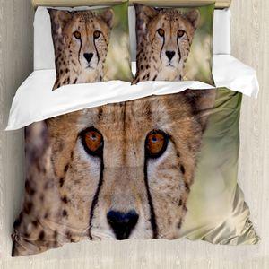 ABAKUHAUS Leopard Bettbezug Set für Einzelbetten, Close up Bild von Cheetah, Milbensicher Allergiker geeignet mit Kissenbezug, 200 cm x 200 cm - 80 x 80 cm, Mehrfarbig