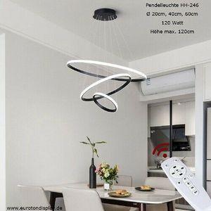HH-246 Eurotondisplay LED Pendelleuchte 3 Ringe 20*40*60cm mit Fernbedienung Lichtfarbe Helligkeit stufenlos einstellbar Dimmbar 120 Watt Höhenverstellbar LED Deckenlampe 120cm Pendellampe Luxus Design A+