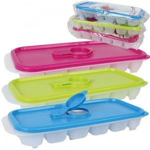 3er Set Eiswürfelbehälter mit Deckel Eiswürfelform Eiswürfelbereiter Kunststoff