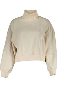 Calvin Klein Damen Pullover Sweatshirt mit Rollkragen, langarm, Größe:S, Farbe:beige (aeo)