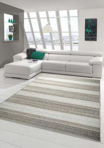 Teppich Modern Flachgewebe Gestreift Sisal Optik Küchenteppich Küchenläufer Grau Größe - 80x150 cm