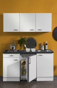Singleküche Lagos 150 cm breit in weiß glänzend mit Elektrogeräten und Edelstahl Einbauspüle