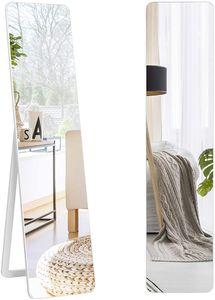 COSTWAY 2 in 1 Ganzkörperspiegel, Standspiegel und Wandspiegel mit Holzrahmen, Ankleidespiegel 37 x 160cm, Garderobenspiegel für Schlafzimmer, Wohnzimmer und Eingangsbereich