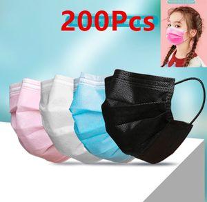 200 Stück 3-lagiger Kinder Einwegmasken Mundschutzmaske Unisex Einwegmasken Atemschutz Weiß +Rosa+ Blau+ Grün masken
