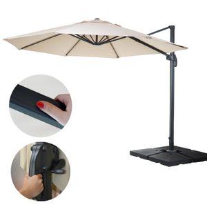 Gastronomie-Ampelschirm HWC-A96, Sonnenschirm, rund Ø 4m Polyester/Alu 27kg  creme mit Ständer