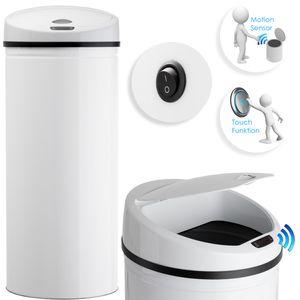 Kesser® Automatik Sensor Mülleimer Abfalleimer Abfall EDELSTAHL Papierkorb, Liter:40 Liter, Farbe:40 Liter WEIß