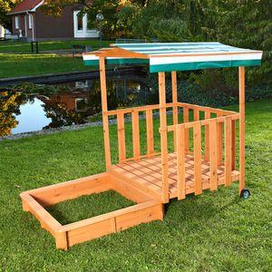 Sandbox Sandkasten Spielhaus + Spielveranda Sandkiste Holz Dach Deckel Kinder Plane UV-Schutz Sun Abdeckplane Dach Buddelkiste NEU