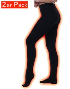 Yenita® THERMO Strumpfhosen 2er Pack, mit Innenfleece Schwarz M/L