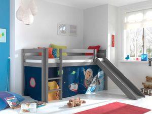 Pino Spielbett mit Rutsche 90x200 cm Spaceman, Matratze:Basic