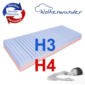 Orthopädische Matratze hochwertige Qualität Premium Doppeltuch-Bezug 7 ergonomische Liegezonen von Wolkenwunder, Härtegrad:H3 | H4, Größe:100x200 cm