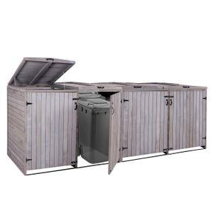XL 4er-/8er-Mülltonnenverkleidung HWC-H74, Mülltonnenbox, erweiterbar 120x75x96 Massiv-Holz  anthrazit-grau