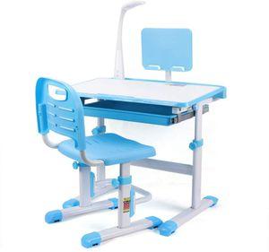 Kindertisch und Stuhl Set, Schreibtisch Schülerschreibtisch mit Schublade höhenverstellbar mit LED Lampe und Stuhl für Hause multifunktional (Blau)
